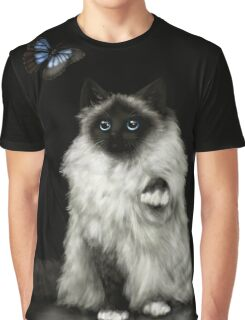 Transfixed - Ragdoll Cat and Butterfly Graphic T-Shirt