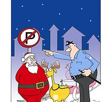 Funny Santa Claus Christmas Card, sleigh parked in no park zone  by Sagar Shirguppi