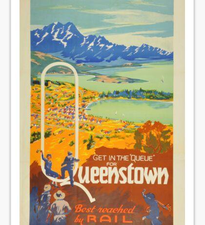 Vintage Queenstown New Zealand Travel Sticker