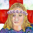 Self portrait with Peonies  by Diane  Kramer
