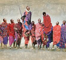 MASAI MEN JUMPING by Susana Weber