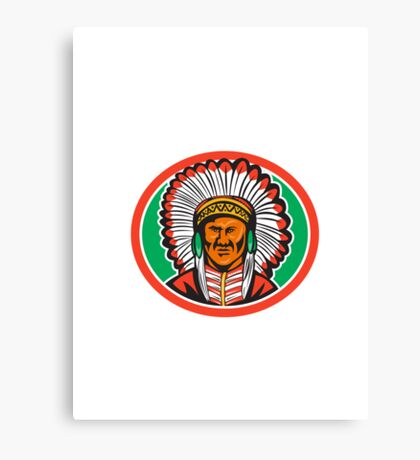 Native American Indian Chief Headdress Canvas Print