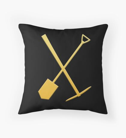 Gold pick & shovel Throw Pillow