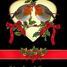 Cute Pair Of Robins Christmas Card by Moonlake