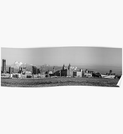 Liverpool skyline black and white Poster