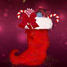 Stylish Christmas Stocking Greeting Card by Moonlake