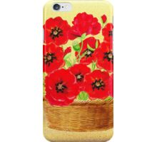 Basket With Red Poppies iPhone Case/Skin