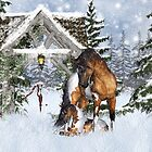 Horse And Foal In The Winter Snow by Moonlake
