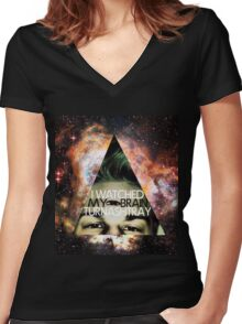 I Watched My Brain Turn Ashtray Women's Fitted V-Neck T-Shirt