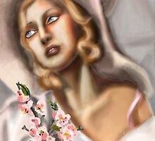 Girl in a Pink Straw Hat: Ode to Tamara de Lempicka by Alma Lee