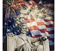 Abraham Lincoln & Fireworks Photographic Print