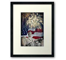 Abraham Lincoln & Fireworks Framed Print