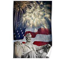 Abraham Lincoln & Fireworks Poster