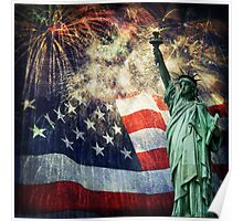 Statue of Liberty &  Fireworks Poster