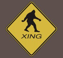 Bigfoot Crossing Sign T-Shirt by thebigfootstore