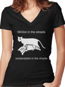 Nihilist in the streets Women's Fitted V-Neck T-Shirt