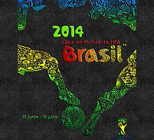World Cup Brazil 2014 [Leather Black] Samsung by Vidka Art