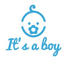 it's a boy text with with cute blue boy icon face by beakraus