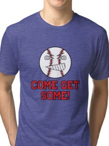 "Cartoon Baseball ""Come Get Some!"" Tri-blend T-Shirt"