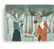 Winter tea together Canvas Print