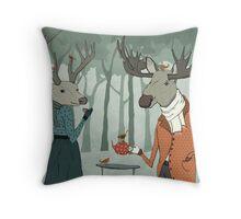 Winter tea together Throw Pillow