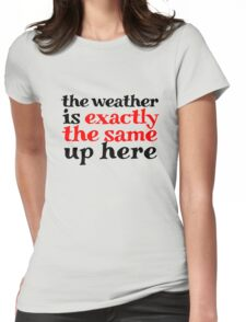 The weather is exactly the same up here Womens Fitted T-Shirt