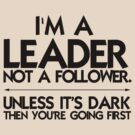 I'm a leader not a follower. Unless it's dark then you're going first by digerati