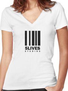 5 Lives Studios Black Women's Fitted V-Neck T-Shirt