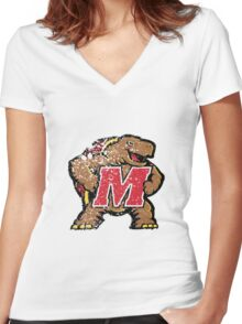 Distressed University of Maryland Terrapins Logo Women's Fitted V-Neck T-Shirt