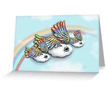 Happy Little Flying Clouds Blue Greeting Card