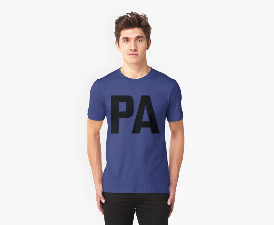 Pennsylvania PA Black Ink by FreshThreadShop