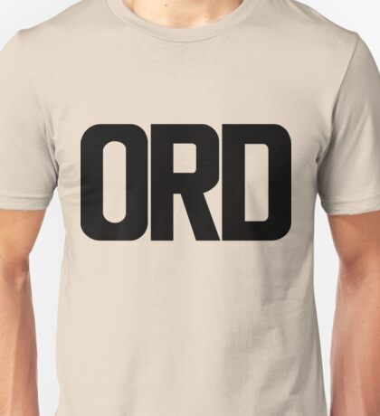 ORD O Hare International Airport Black Ink Unisex T-Shirt