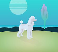 White Poodle Moon by wrayco