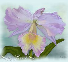 Cattleya Orchid Happy Birthday Greeting Card by Linda Allan