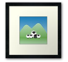 Cute Cartoon Sheep Family Framed Print