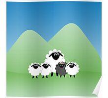 Cute Cartoon Sheep Family Poster