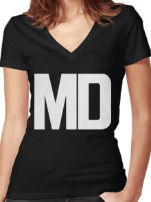 Maryland MD White Ink Women's Fitted V-Neck T-Shirt
