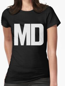 Maryland MD White Ink Womens Fitted T-Shirt