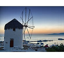 Mykonos view-Windmills Photographic Print