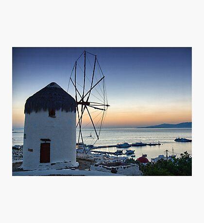 Mykonos view-Windmills Photographic Print