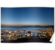 Night View of Mykonos Poster