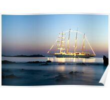 Beautiful  yacht in front of Little Venice-Mykonos Poster