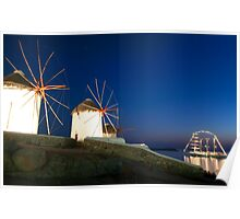 Night view of windmills-Mykonos Poster