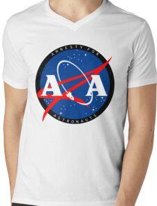 Amnesty For Astronauts Circle Logo (White) Mens V-Neck T-Shirt