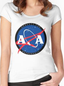 Amnesty For Astronauts Circle Logo (Black) Women's Fitted Scoop T-Shirt
