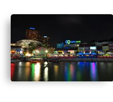 Buzzing Clark Quay in the night Canvas Print