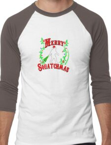 Merry Squatchmas  Men's Baseball ¾ T-Shirt
