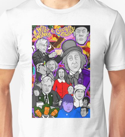 willy wonka and the chocolate factory character collage Unisex T-Shirt
