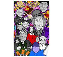 willy wonka and the chocolate factory character collage Poster