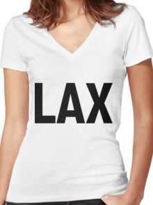 LAX Los Angeles International Airport Black Ink Women's Fitted V-Neck T-Shirt